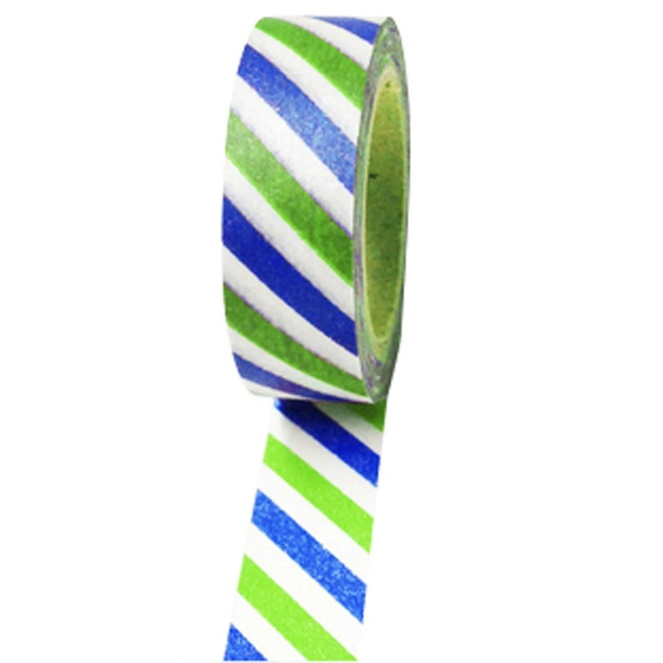 Blue and Green Diagonal Stripes Washi Paper Masking Tape, 11 yds/10 Meters, Craft Tape, Scrapbook Embellishment, Geometric, Gift Wrap - CMWrapNShipSupply
