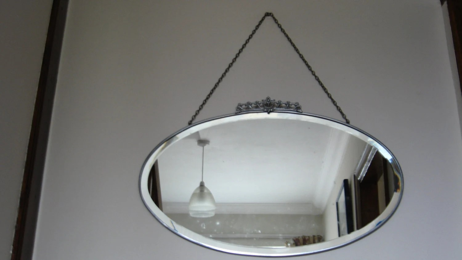 Vintage Oval Wall Mirror With Metal Frame Art Deco