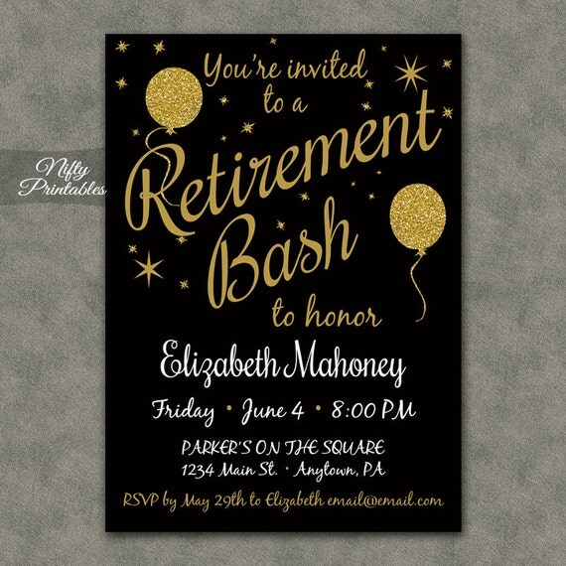 Retirement Party Invitations Printable Black Amp Gold