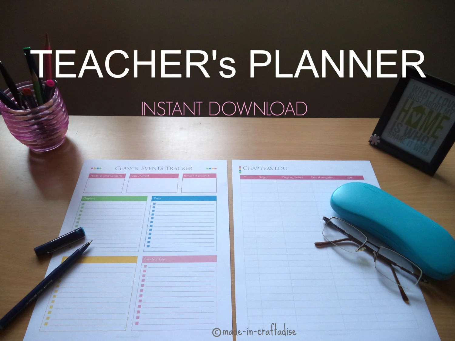 Teacher S Planner Set Single Along With Divider Page