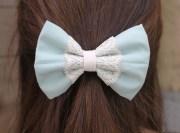 blue lace bow hair teens