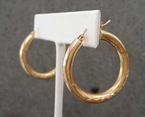 Karat Yellow Gold Engraved Hoop Earrings