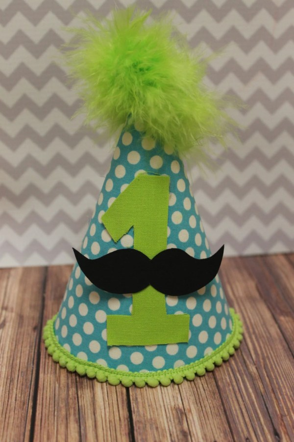 Little Man 1st Birthday Party Hat In Polka Dot Mustache