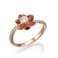 Flower Engagement Ring Rose Gold ring Unique Ring Diamond