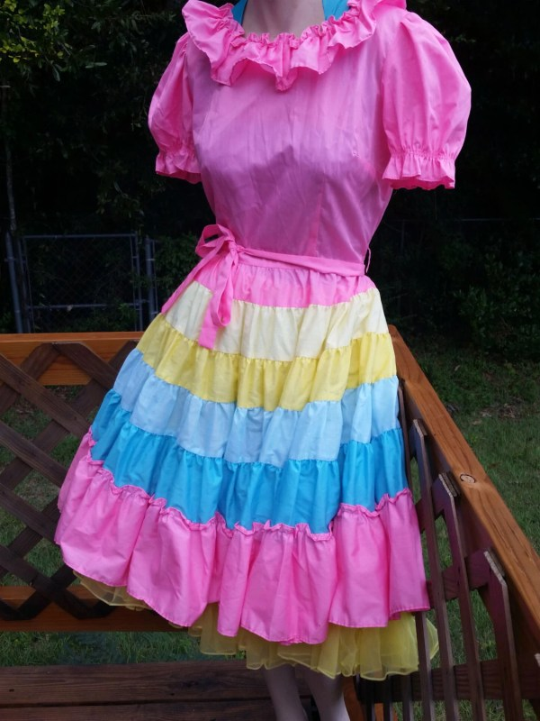 Cosplay Lolita Dress Pink Rainbow With Yellow Thevenuevintage