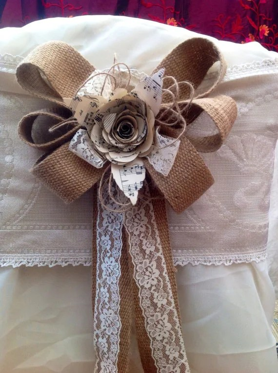 10 hessian bows Pew ends chair backs natural lace paper