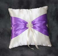 Purple Ring Bearer Pillow Ivory Ring Pillow Wedding by ...