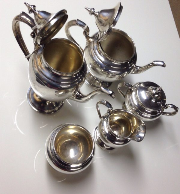 1945 Sterling Silver Gorham Puritan Five Piece Tea Set Teapot