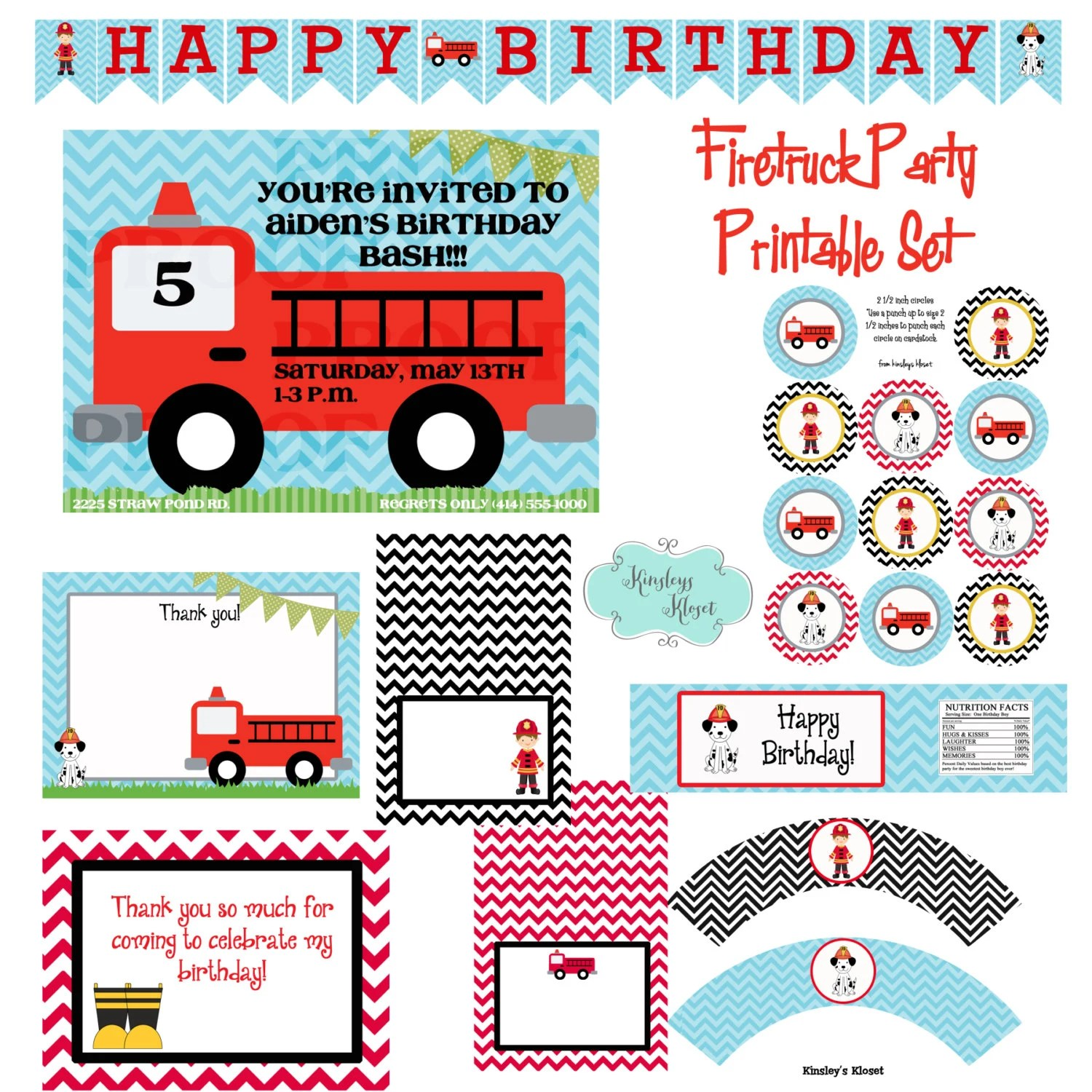 Firetruck Party Printables Firetruck Birthday Party