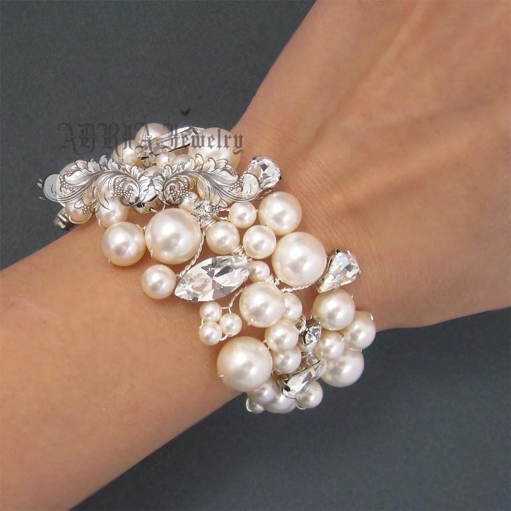 Bridal Bracelet Pearl Wedding Bracelet Vintage Style Chunky