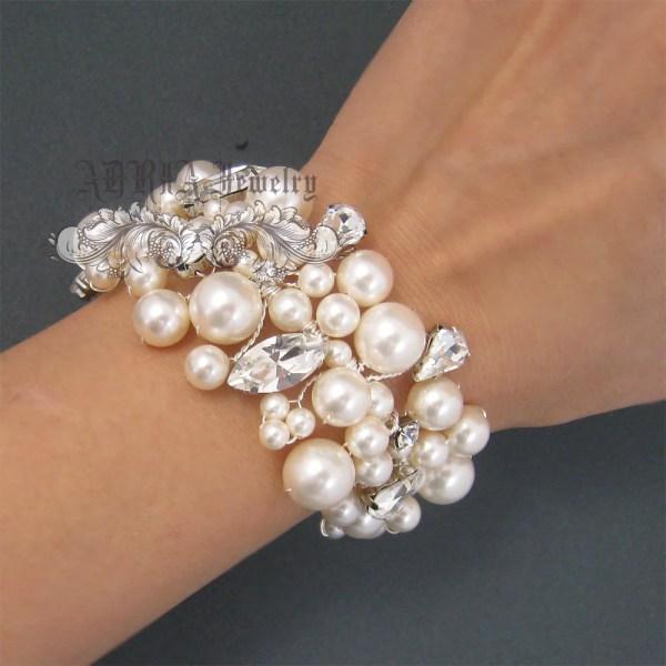 Bridal Bracelet Pearl Wedding Vintage Style Chunky