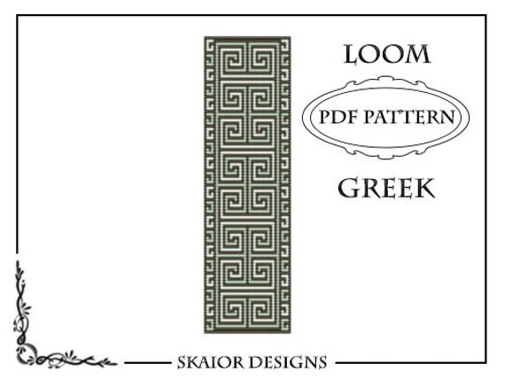 Loom Beading Pattern Loom Cuff Bracelet Greek Ornament Tribal