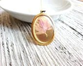 Pressed Flower Necklace Pressed Flower Pink Centaurea Delicate Pale Petals Minimalist Botanical Resin Jewelry Bridal Nature Naturalist