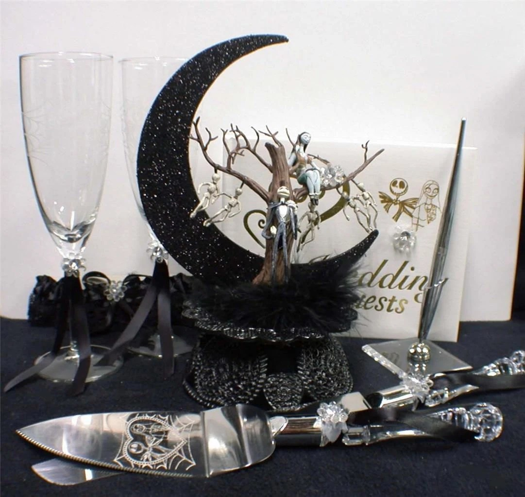Nightmare Before Christmas Wedding Cake Topper Lot Glasses