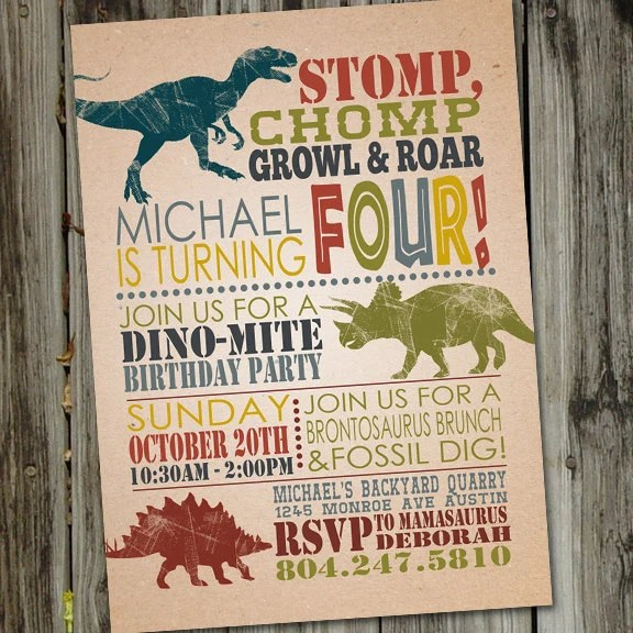 Dinosaur Invitation Dinosaur Dig PRINTABLE Dinosaur Party