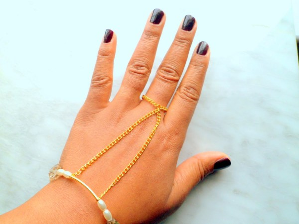 Pearl Hand Chain Attached Ring Bracelet With Golden