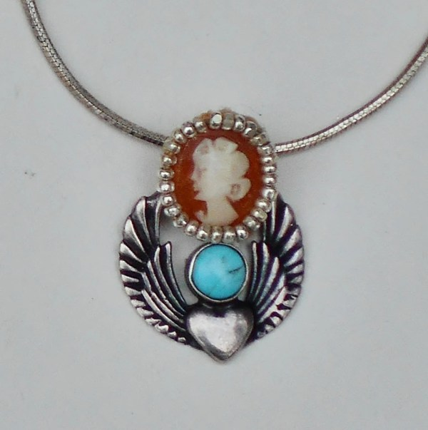 Steampunk Art Nouveau Heart With Turquoise Hand Carved