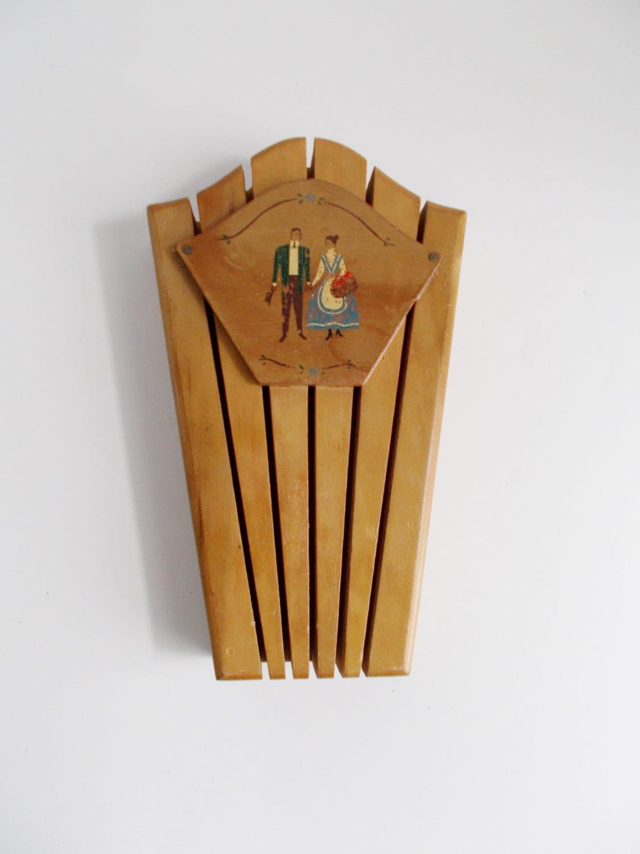 Vintage Knife Holder Wooden Folk Art Couple Haute Juice