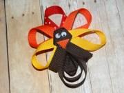 turkey hair clip thanksgiving bow