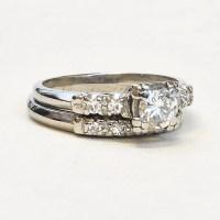 Vintage Wedding Ring Set Platinum by SITFineJewelry on Etsy