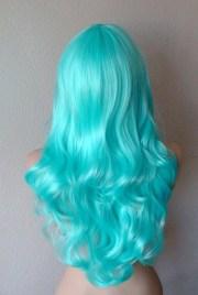 aqua blue wig. long curly wavy