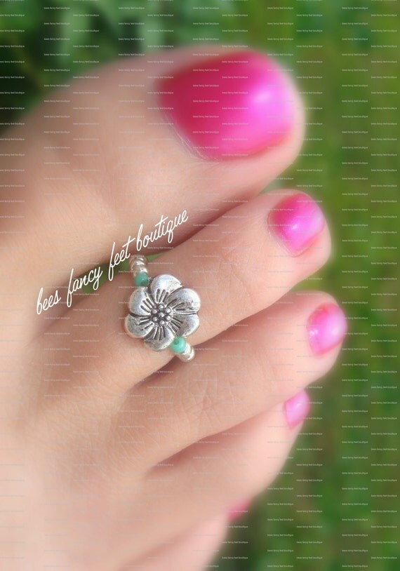 Toe Ring Ring Flower Toe Ring Flower Ring Silver Toe Ring