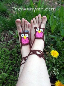 Crochet Owl Barefoot Sandals Pink And Brown Hand