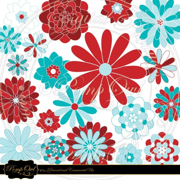 flower cliparts turquoise red &