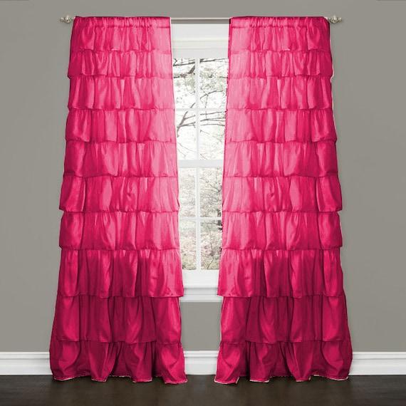 "Pink Fuschia Blackout Waterfall Ruffle Curtains - 100% MICROFIBER 2 Panel 52"" W by 95""L"