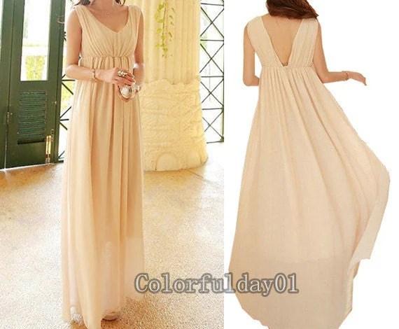 Women's Beige Chiffon Long Dress Wedding Dress By