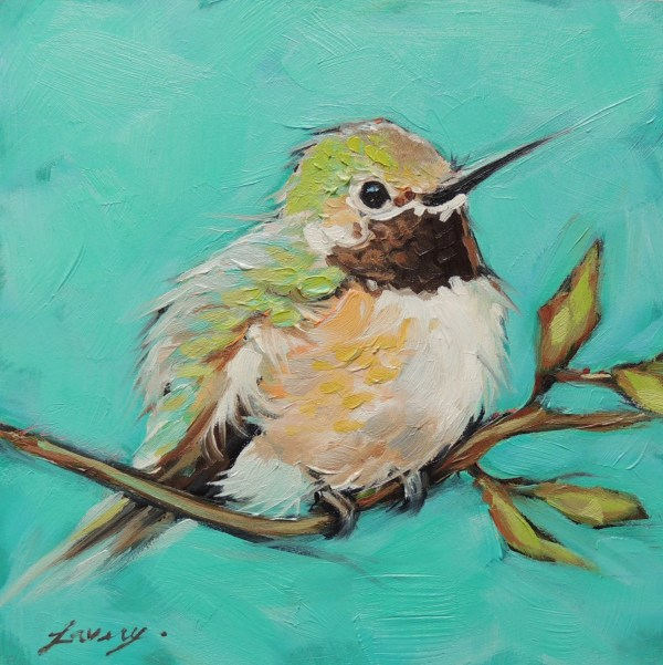 Original Oil Bird Painting Hummingbirds 5x5