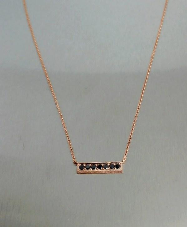 Karat Rose Gold Black Diamond Bar Necklace Kcddiamonds