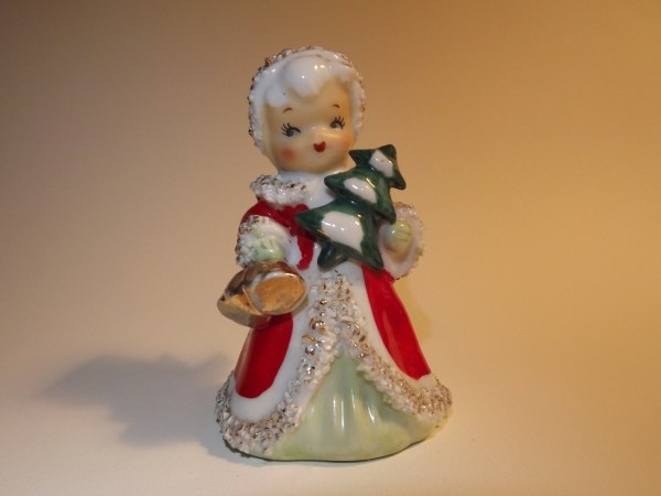 Vintage Lefton Christmas Angel Bell With Tree
