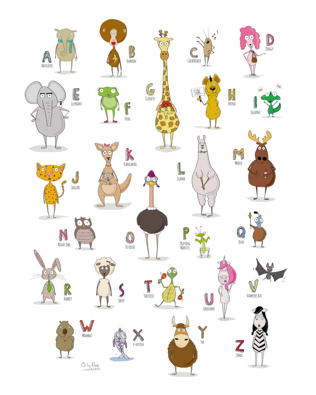 Alphabet Poster Abc Print Printable Abc Poster Abc Animal