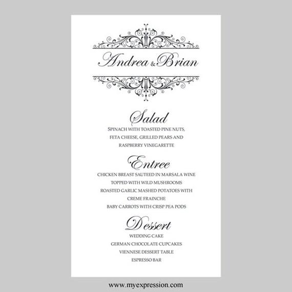 Hochzeit Men Karte Vorlage Vintage Filigree schwarz