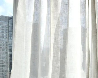 Sheer Linen Curtain Etsy