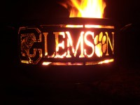 Clemson Tigers large custom fire pit of salvaged steel.