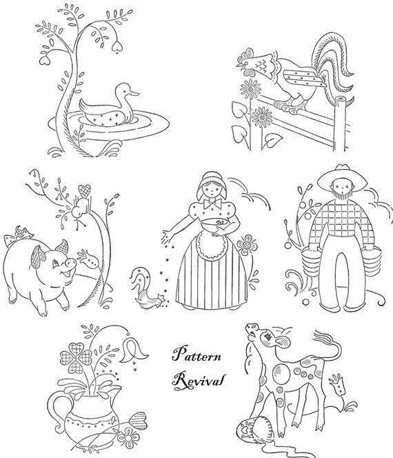 Tea Towel Embroidery Pennsylvania Dutch Days of the Week