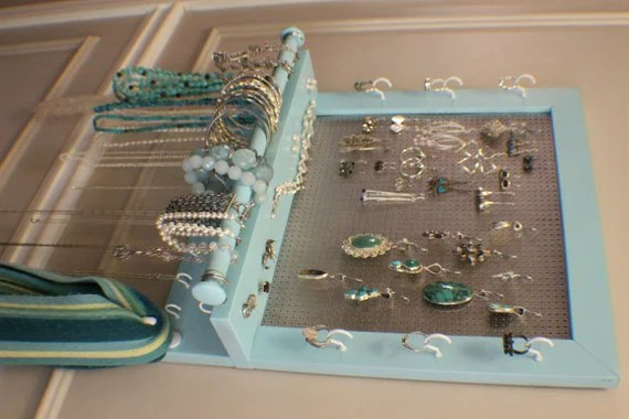 Beautiful Turquoise Wall Mounted Jewelry Organizer with a