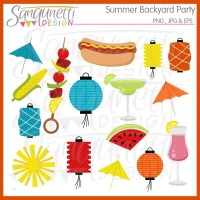 Summer Backyard Party Clipart Commercial License Included