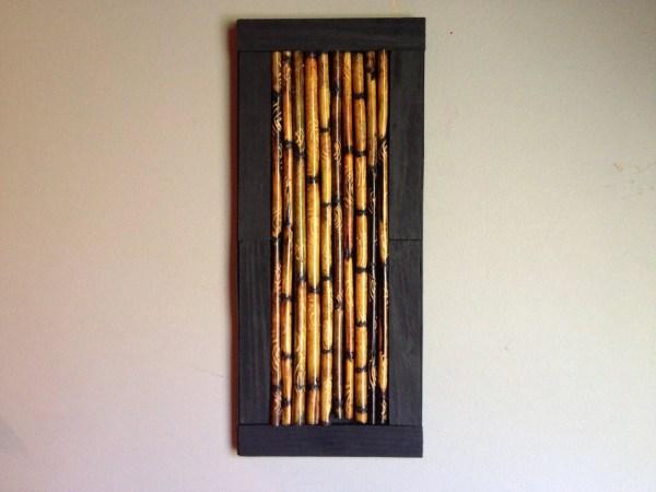 Bamboo Stick Framed Art Altered Rustic Design