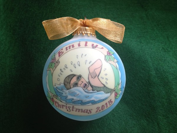 Super Swimmer Original Handpainted Personalized Ornament