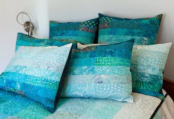 Standard size quilted pillow shams in ocean sky hues made to