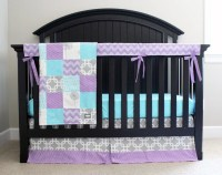 Purple Aqua and Grey Baby Girl Crib Bedding by GiggleSixBaby