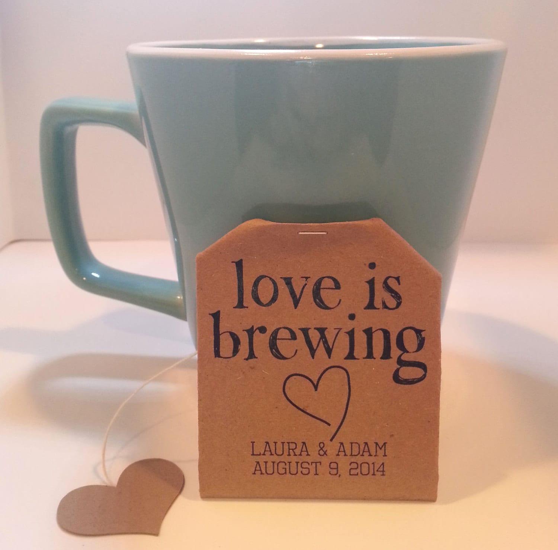 Wedding Favors Personalized Tea Bags Brown Kraft by LVLVArtistry