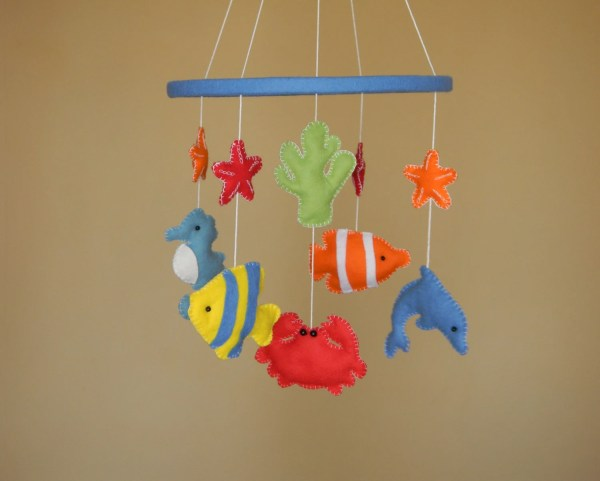 Nautical Mobile Felt Fish Star Rainbowsmileshop