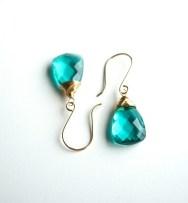 Aqua blue earrings, Something blue, Tiffany blue, Gold earring, Bridesmaids gift, Wedding jewelry, Caribbean blue, Quartz drop, Blue crystal