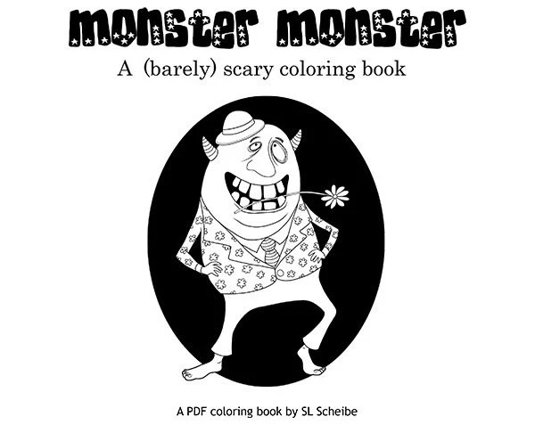 PDF Coloring book of funny monsters Coloring pages by SLSLines