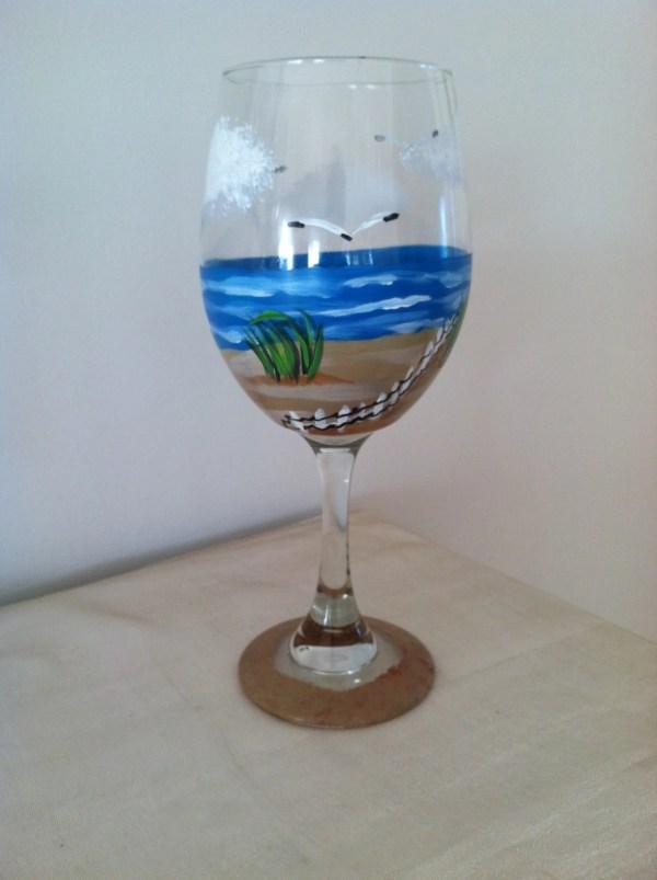 Beach Scene 20 Oz. Wine Glasses