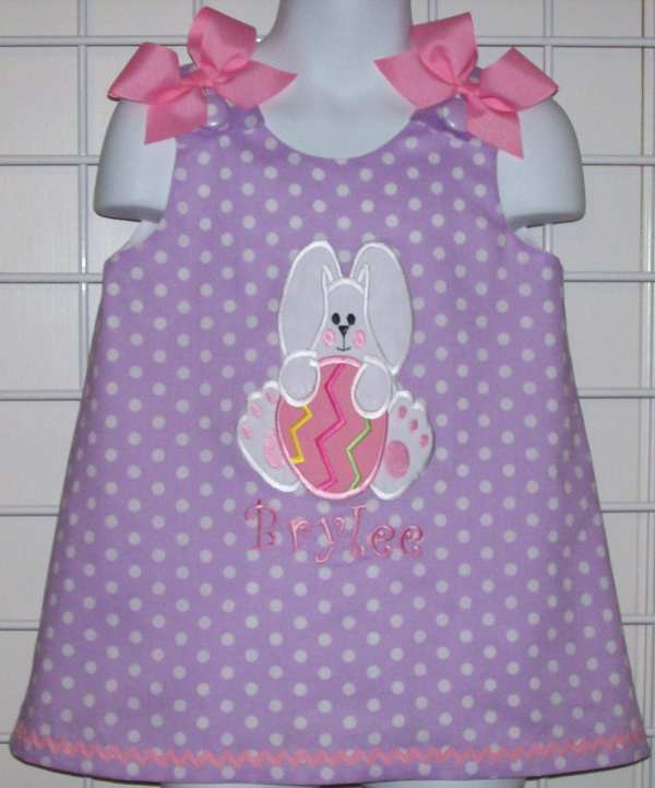 Lavender Purple Polka Dot Bunny Holding Easter Thesewprincess